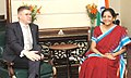 The Minister for Foreign Affairs and External Trade of Iceland, Mr. Gunnar Bragi Sveinsson meeting the Minister of State for Commerce & Industry (Independent Charge), Smt. Nirmala Sitharaman, in New Delhi on April 05, 2016 (1).jpg
