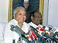 The Minister for Railways, Shri Lalu Prasad addressing a Press Conference in New Delhi on May 19, 2005.jpg