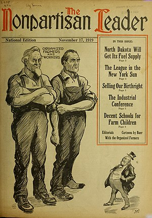 Nonpartisan League - 1919 cover of the League's newspaper, The Nonpartisan Leader,  portraying organized farmers and workers standing tall against big business interests