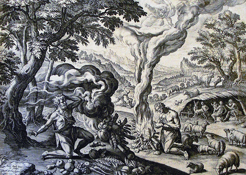 File:The Phillip Medhurst Picture Torah 31. Cain and Abel make an offering. Genesis cap 4 vv 3-7. De Vos.jpg