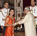 The President, Shri Pranab Mukherjee presenting the Padma Shri Award to Ms. Dipa Karmakar, at the Civil Investiture Ceremony, at Rashtrapati Bhavan, in New Delhi on April 13, 2017.jpg