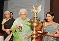 The Union Minister for Culture, Smt. Chandresh Kumari Katoch lighting the lamp to inaugurate the Training Programme for Directors, Zonal Cultural Centres, in New Delhi on June 25, 2013.jpg