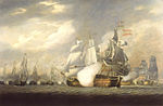 The Victory Raking the Spanish Salvador del Mundo at the Battle of Cape St Vincent, 14 February 1797.jpg