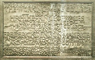 Working Men's College - Image: The Working Mens College Foundation Stone 1904