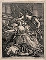The suicide of Cleopatra; Cleopatra is lying dead on a chair Wellcome V0041578.jpg