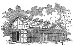 English: An Iroquois longhouse.