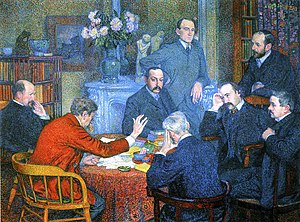 Théo van Rysselberghe, A Reading by Emile Verhaeren (1903) - Emile Verhaeren is seen from the back, shown with his red jacket