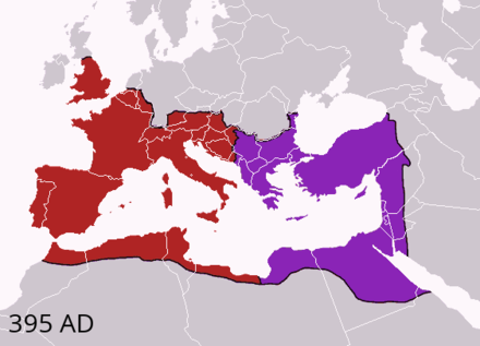 The division of the Empire after the death of Theodosius I, c. 395 AD superimposed on modern borders. Western Roman Empire Eastern Roman Empire (Byzantine Empire) Theodosius I's empire.png