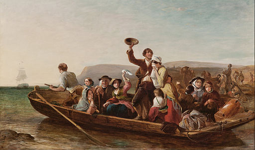 """Thomas Falcon Marshall - Emigration - the parting day """"Good Heaven! what sorrows gloom'd that parting day etc"""" Goldsmith - Google Art Project"""
