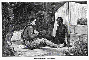 Thomas Heazle Parke - Parke undergoing blood brotherhood ritual with an African