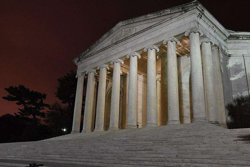 File:Thomas Jefferson Memorial fat night with red sky trees.jpg