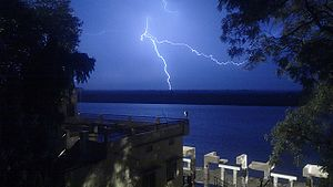 Kanada (philosopher) - Image: Thunderstorm on River Ganga