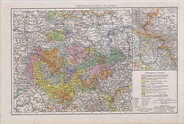 Map of the Thuringian States in 1890 Thuringische staaten1890.jpg
