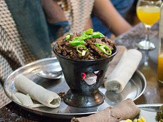 Ethiopian cuisine - A tibs (waadii) dish at a restaurant in Yod Abyssinia, Addis Ababa