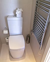 Close coupled cistern type flushing toilet.