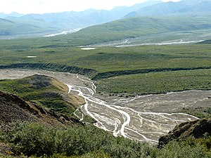 Sediment transport - Toklat River, East Fork, Polychrome overlook, Denali National Park, Alaska. This river, like other braided streams, rapidly changes the positions of its channels through processes of erosion, sediment transport, and deposition.
