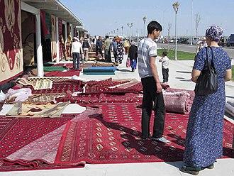 Ashgabat - Turkmen carpets in Altyn Asyr Bazaar