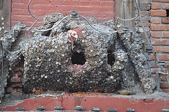 """toothache tree"", Vaishya Dev shrine, Kathmandu, Nepal. Tooth god(Wasya Dyo).jpg"