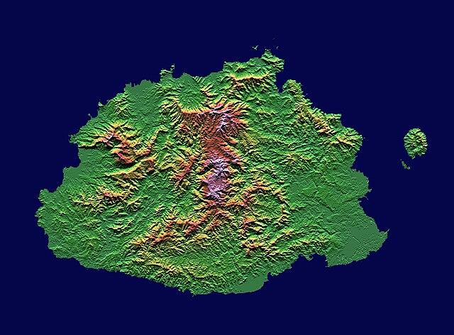 Fiji Islands Topographic Map