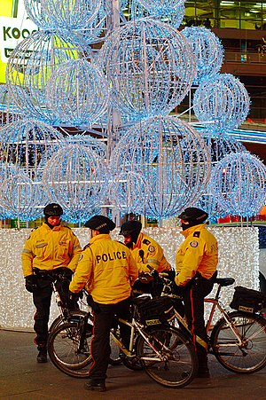Toronto bicycle police officers in Yonge Dunda...