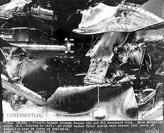 USS Helena (CL-50) - Torpedo damage of Helena, 14 December 1941.
