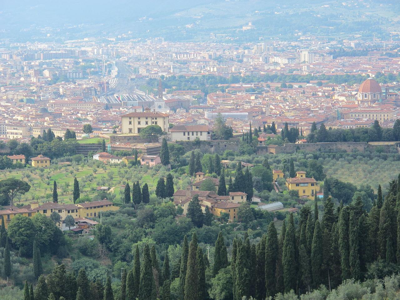 Firenze, Arcetri e Forte Belvedere, visto da Torre del gallo