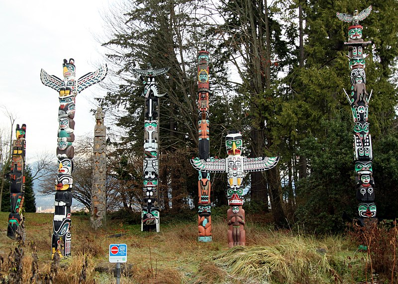File:Totem poles Stanley Park Vancouver December 2010.jpg