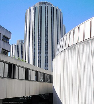 Litchfield Towers - Pedestrian bridge connecting to the Towers' lobby from the Barco Law Building (left), David Lawrence Hall (right) and Posvar Hall. Tower A is seen center.
