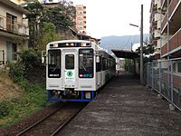 Train of Matsuura Railway bounding for Haiki Station arriving at Naka-Sasebo Station.JPG