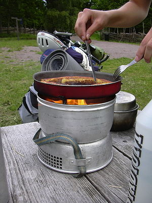 A Trangia type portable stove in use.
