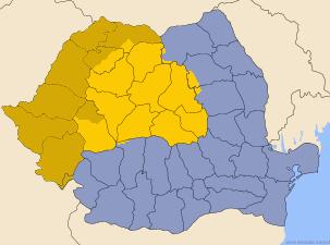 A jelenkori Erdély Románián belül sárga színnel kiemelve A történelmi Erdély, Belső-Erdély A Partium és a Bánság keleti része Órománia, Moldva és Havasalföld uniója Dobrudzsával