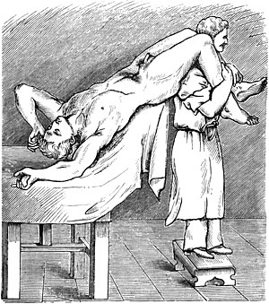 subject is lying on their back with legs raised and knees over another person's shoulders