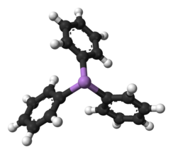 Ball and stick model of aromatic triphenylarsine