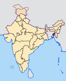 Map of India with the location of త్రిపుర highlighted.