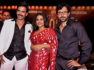 Emraan Hashmi - Hashmi with co-stars Tusshar Kapoor (left) and Vidya Balan at the audio release of The Dirty Picture, 2011