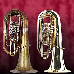 Two F-tubas, from c.1900 (left) and 2004 (right)