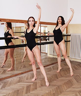 Leotard - Two girls practicing dance in T-front leotards.