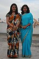 Two girls wearing sarees , Blue (Malathi), Orange (Shara) at Ladies party, Veracious Sonesta. , Bangalore, 2011.jpg