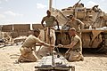 U.S. Marines assigned to Delta Company, 1st Tank Battalion conduct routine maintenance on an M88A2 Hercules recovery vehicle at Forward Operating Base Shir Ghazay, Helmand province, Afghanistan, May 7, 2013 130507-M-YH552-066.jpg