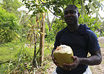 U.S. Navy Aviation Boatswain's Mate 1st Class Opoku Owusu, embarked aboard the amphibious assault ship USS Iwo Jima (LHD-7), pauses before drinking milk from a coconut near a school in Limon, Costa Rica 100823-M-PC721-565.jpg