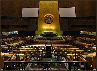 Convention on the Reduction of Statelessness - The Room of the United Nations General Assembly where Resolution was passed in 1949 which inspired the adoption of the Convention Regarding the Status of Stateless Persons in 1954 and the completion of the 1961 Convention on the Reduction of Statelessness
