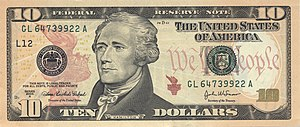 Alexander Hamilton on the Series 2004A $10 Fed...