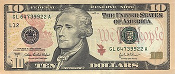 Alexander Hamilton on the current U.S. $10 bill, based on an 1805 portrait by John Trumbull.