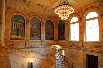 Boston Public Library - The Chavannes Gallery of the McKim Building, with murals painted by Pierre Puvis de Chavannes