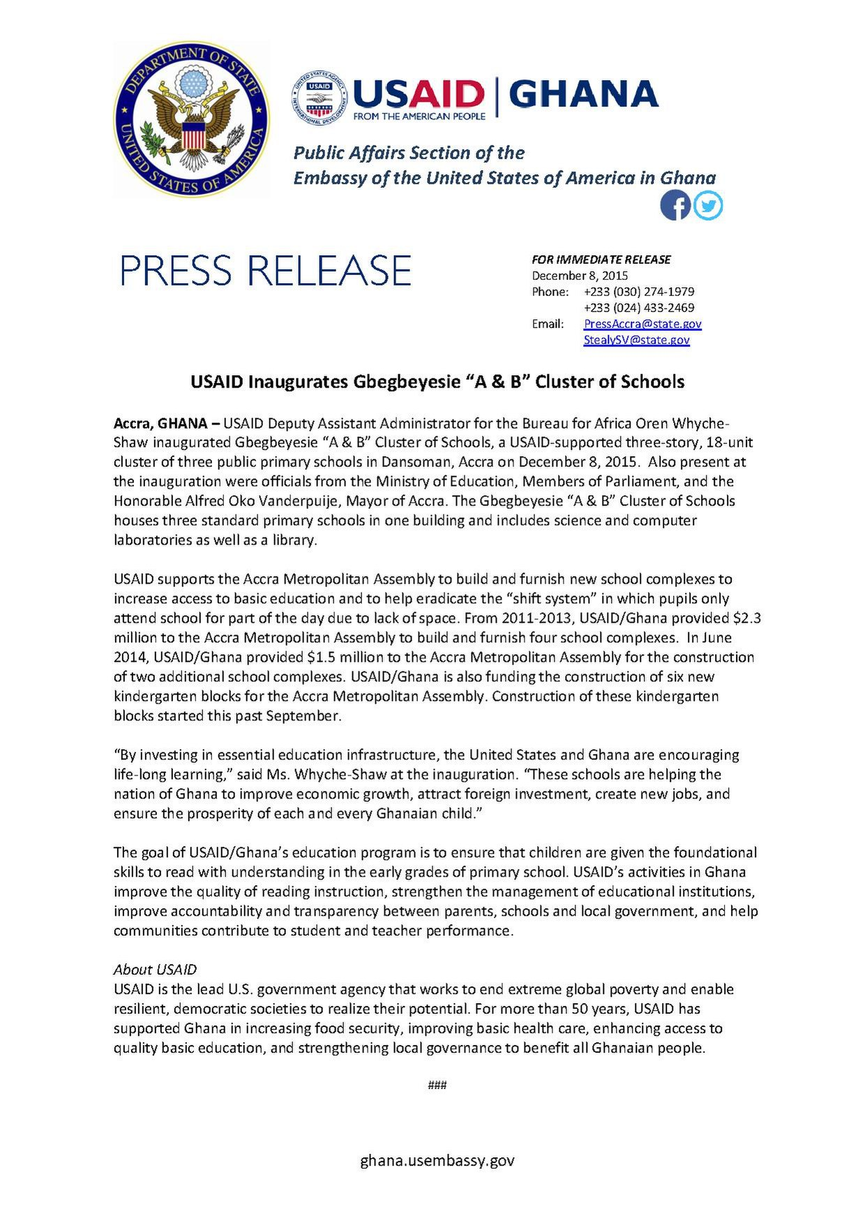 File usaid press release school inauguration 12 final for New employee press release template
