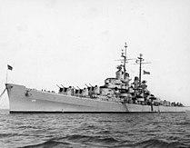USS Spokane (CL-120) at anchor, circa 1946-1948 (NH 99035).jpg