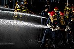 USS Theodore Roosevelt conducts fire-fighting drill. (31620612235).jpg