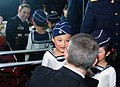 US Navy 021127-N-1777B-002 Cmdr. Chuck Nygaard speaks with children at the Naval Kindergarten of the North Sea Fleet.jpg