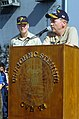 US Navy 040714-N-0684R-025 Commander Pacific Fleet, Adm. Walter F. Doran, addresses the crew of the aircraft carrier USS John C. Stennis (CVN 74) on the flight deck during an all hands call.jpg