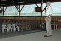 US Navy 060420-N-9500T-001 Secretary of the Navy (SECNAV) the Honorable Dr. Donald C. Winter addresses Sailors, Soldiers, Airmen and Marines during a brief stop at Camp Lemonier, Djibouti.jpg